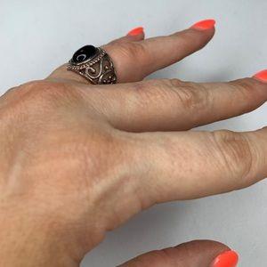 Vintage Sterling Silver Onyx Black Stone Ring 6